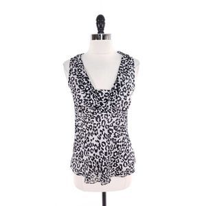 White House Black Market Silk Leopard Lined Top